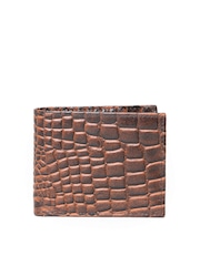 John Players Men Brown Croc Patterned Genuine Leather Wallet