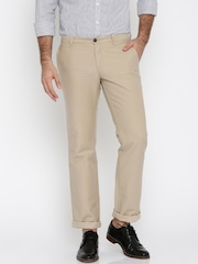 Indian Terrain Men Beige Solid Kansas Regular Fit Flat-Front Trousers