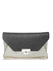 GUESS Black & Antique Gold-Toned Shimmer Clutch