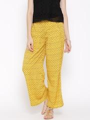 AURELIA Women Yellow Printed Palazzo Trousers