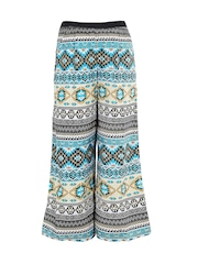 naughty ninos Girls Teal Blue Printed Polyester Relaxed Fit Palazzo Trousers