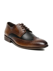 San Frissco Men Tan Brown & Black Leather Brogues