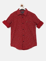 Indian Terrain Boys Red Regular Fit Printed Casual Shirt