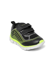 Kittens Boys Black & Lime Green Printed Running Shoes