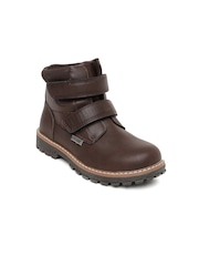 Kittens Boys Coffee Brown Solid High-Tops Flat Boots