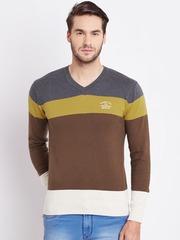 Numero Uno Men Brown & Grey Melange Colourblocked Sweater