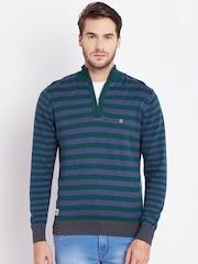 Numero Uno Men Green & Blue Striped Sweater