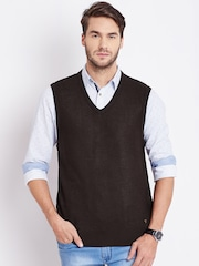 Numero Uno Men Coffee Brown Sleeveless Sweater