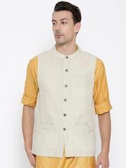 indus route by Pantaloons Beige Nehru Jacket