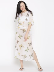 The Kaftan Company White Butterfly Print Semi-Sheer Cover-Up Dress