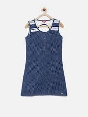 Elle Kids Girls Blue Polka Dot Print Shift Dress