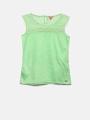 Elle Kids Girls Green Lace Regular Top