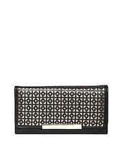 Lisa Haydon for Lino Perros Women Black Cut-Out Wallet