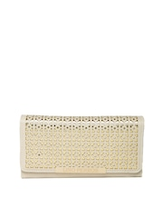 Lisa Haydon for Lino Perros Women Beige & Gold-Toned Cut-Out Wallet