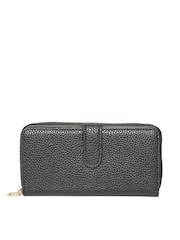 Lisa Haydon for Lino Perros Women Black Textured Zip-Around Wallet