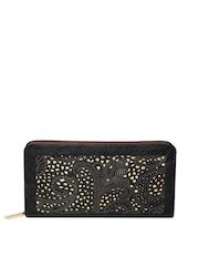 Lisa Haydon for Lino Perros Women Black Cut-Out Zip-Around Wallet