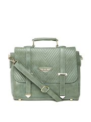 Lisa Haydon for Lino Perros Green Textured Satchel with Sling Strap