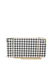 Lisa Haydon for Lino Perros White Houndstooth Clutch with Chain Strap
