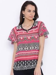 109F Women Black & Magenta Printed Regular Top