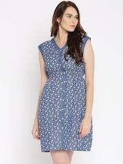 109F Blue Floral Print A-Line Dress