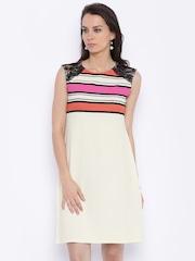 109F Women Off-white Striped Sheath Dress