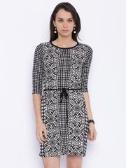 109F Women Off-white & Black Printed A-line Dress