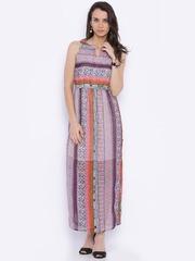 109F Women Multicolour Printed Polyester Maxi Dress