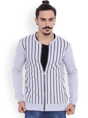 Campus Sutra Grey Striped Sweatshirt