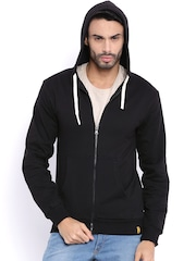 Campus Sutra Black Hooded Sweatshirt