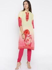 Shree Women Yellow & Magenta Ombre-Dyed Printed Kurta