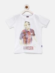 FC Barcelona Boys White Printed T-shirt