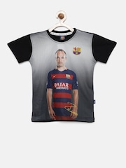 FC Barcelona Boys Grey & Black Printed T-shirt