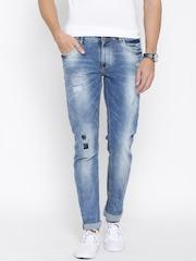 SPYKAR Men Blue Skinny Fit Low-Rise Mildly Distressed Jeans