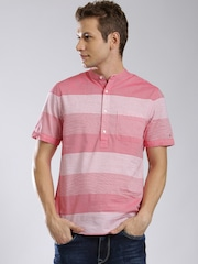 Tommy Hilfiger Men Pink & White Striped Casual Shirt
