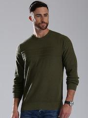 Tommy Hilfiger Men Olive Green Sweater
