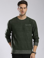 Tommy Hilfiger Men Olive Green Solid Sweater