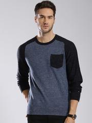 Tommy Hilfiger Men Blue Colourblocked Sweater