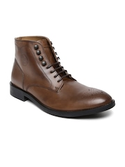 U.S. Polo Assn. Men Brown Solid High-Tops Leather Flat Boots