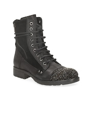 Clarks Women Black Leather Studded Boots