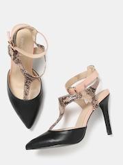 Dressberry Women Black & Beige Snakeskin Print Slim Heels