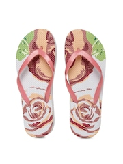 People Women Pink & White Floral Print Flip-Flops