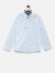 Tommy Hilfiger Boys Blue Printed Custom Fit Shirt