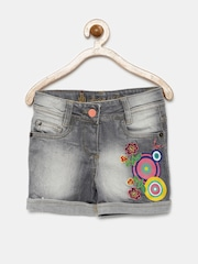 UFO Girls Grey Washed Denim Shorts