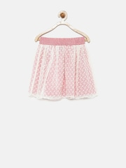 UFO Girls Red & Off-White Printed Flared Skirt