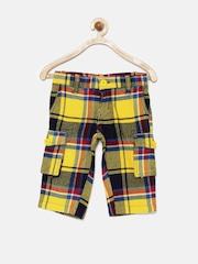 UFO Boys Multicoloured Checked 3/4th Cargo Shorts