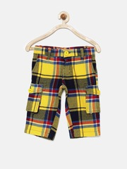 UFO Boys Multicoloured Checked 3/4th Cargo Shorts