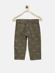 UFO Boys Olive Green Printed 3/4th Shorts