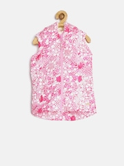 Elle Kids Girls Pink Floral Print Sleeveless Hooded Jacket