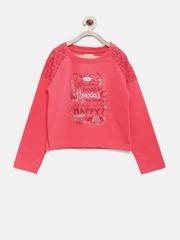 Elle Kids Girls Coral Pink Printed Sweatshirt