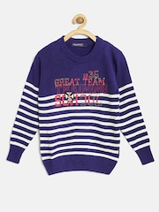 Wingsfield Boys Blue & White Striped Printed Sweater